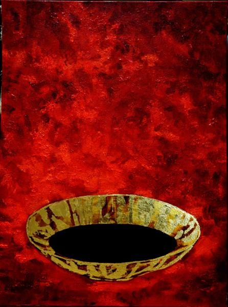 Cottonara: Still life with gold chalice and black water