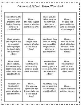 CAUSE AND EFFECT I HAVE, WHO HAS? - TeachersPayTeachers.com