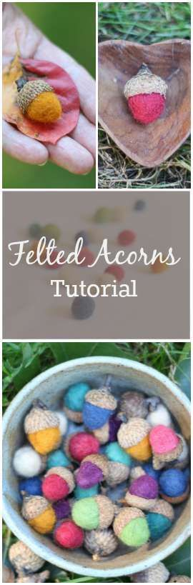 Bring a bit of Autumn indoors with felted acorns. A sweet gift or seasonal home decoration.