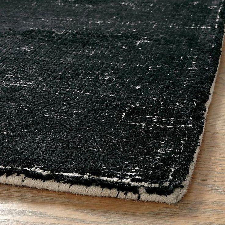 New crate and barrel vaughn modern black wool rug 5x8 6x9