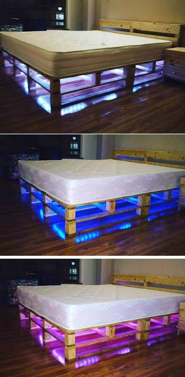 Beautiful Pallet Bed With Hidden Lights Beautiful Pallet Bed