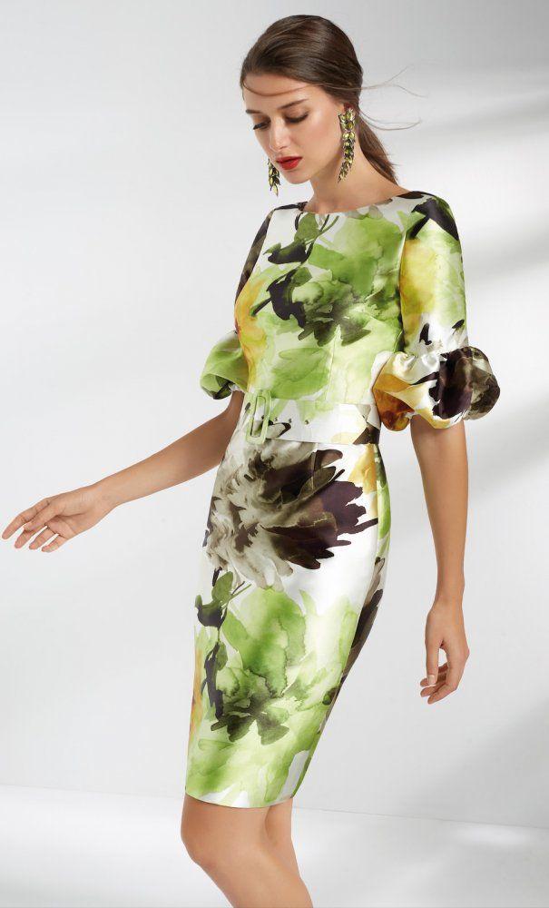 8fa3478811d Vestido MATILDE CANO Mikado Estampado Verde | Moda | Vestidos ...
