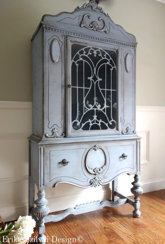 CUSTOM FINISH for Anh & Corey - Antique Jacobean Hand Painted Cottage Chic Shabby Cupboard China Hutch / Display Cabinet