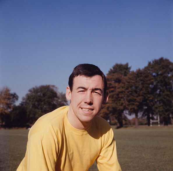 English professional footballer and goalkeeper with Leicester City Gordon Banks pictured during a training session for the English national team in...