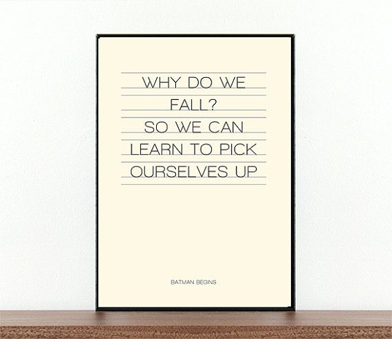 Movie quote, movie typography, Batman Begins, Why do we fall, Batman, film quotes, movie art, superheroes, typography, wall decor
