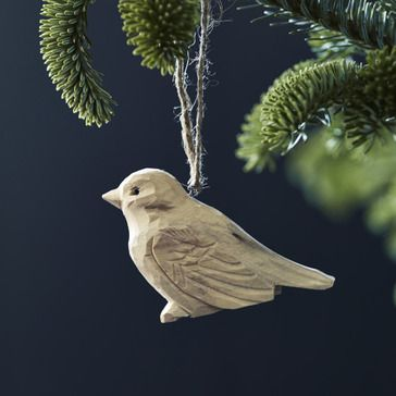 Plume Carved Wooden Bird Decorations