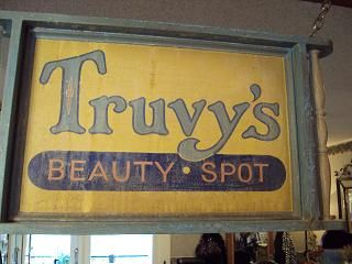 Truvy's Beauty Spot sign--not carved wood, but cute.