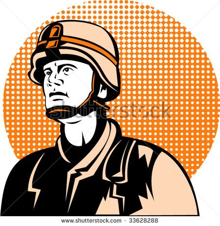 American military serviceman looking up - stock vector #memorialday #retro #illustration