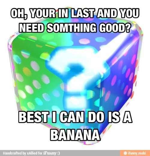 Mario kart. This is how I feel sometimes. When I'm in last on my D.S., most of the time it won't give me a bullet.