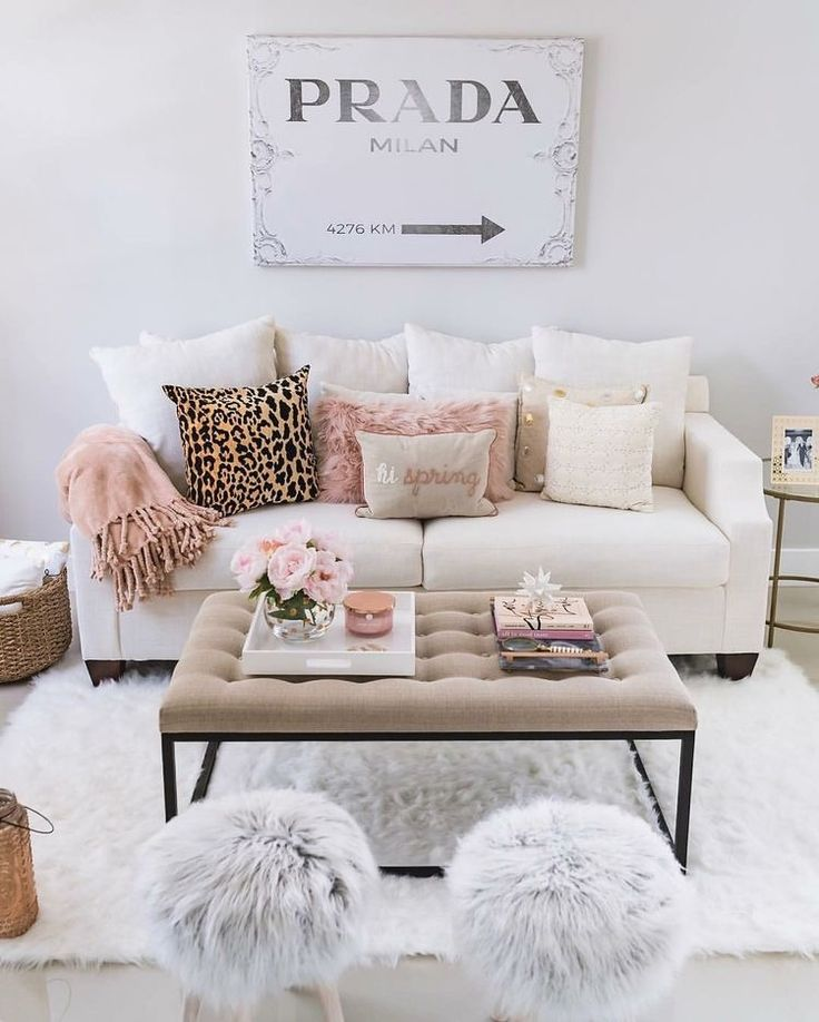 apartment ideas for girls. sitting room style with rosy velour throws  a faux pouf duo and cozy cream hues what dreamy space to replicate 1890 best Maison images on Pinterest Bedrooms Apartments