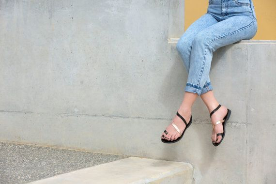 Handcrafted leather sandals in black and rose by AlmyraSandals