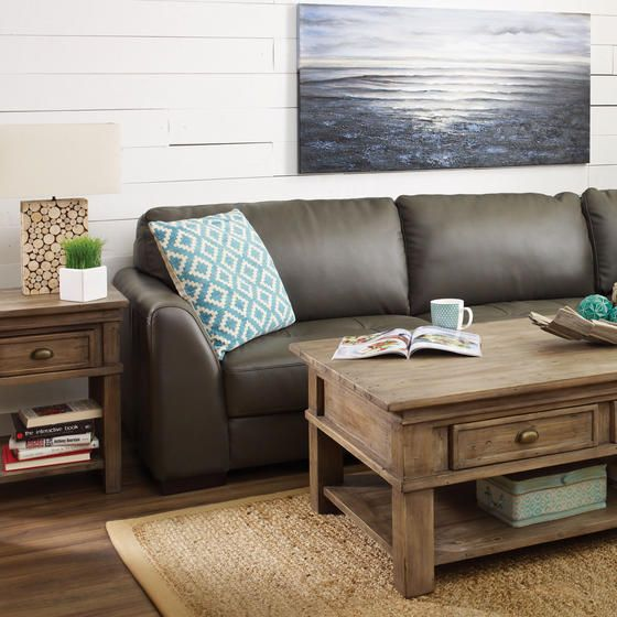 Boone Leather Sofa Chaise - Grey