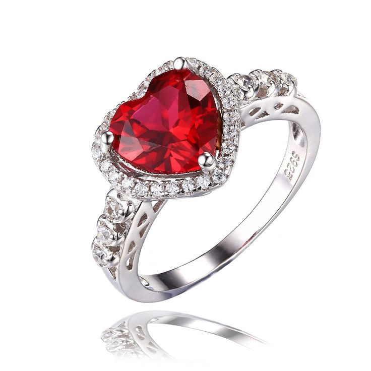 Heart Ruby Ring (July Birthstone - 18k Gold Plated Pure Solid 925 Sterling Silver) Item Type: Rings Fine or Fashion: Fashion Rings Type: Wedding Bands Style: Romantic Gender: Women Setting Type: Prong