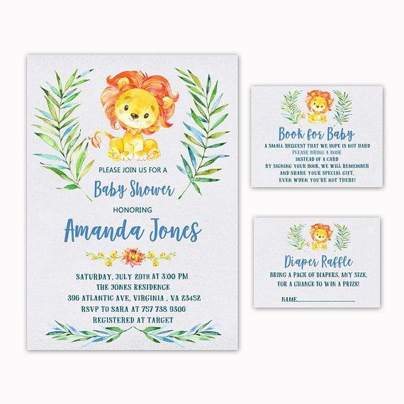 Lion Baby Shower Invitation  Book for Baby  Diaper Raffle