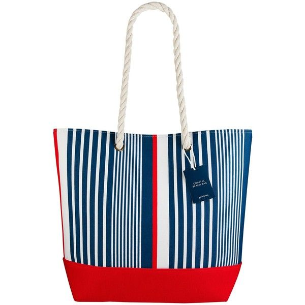 John Lewis Coastal Beach Tote Bag, Blue / Red (¥1,005) ❤ liked on Polyvore featuring bags, handbags, tote bags, man bag, striped tote, striped tote bag, beach tote bags and beach bag tote