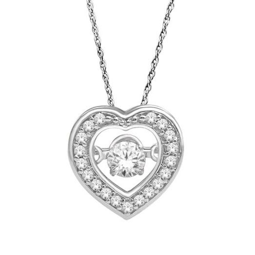 14KT Dancing Diamond Heart Shaped Pendant