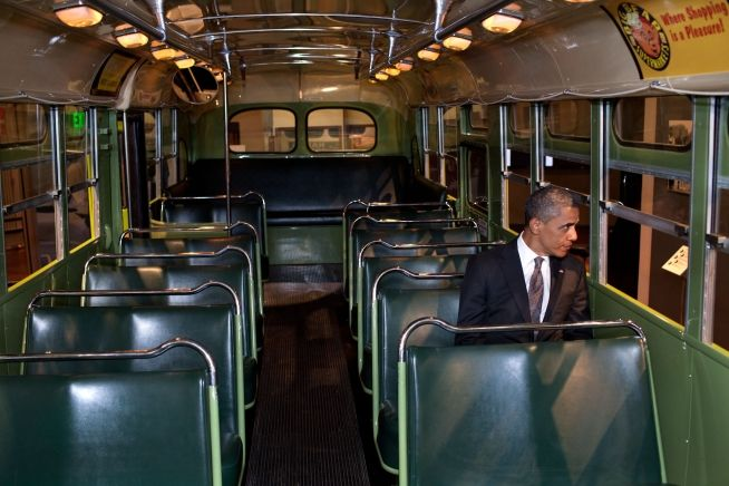 President Obama Sits on the Rosa Parks Bus in Dearborn, Michigan 04 18 12