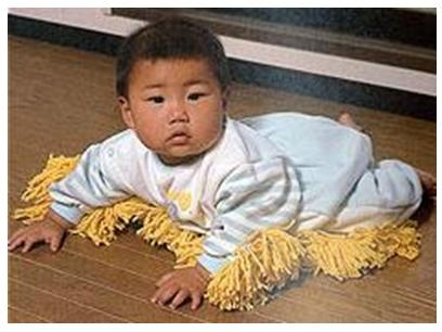 Chindogu (pointless inventions) Baby Sweeper/Duster Great research for my VRQ. CHINDOGU! look it up, it's amazeballs.