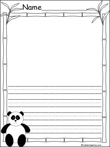 This is Panda writing paper available on Madebyteachers.com.  The lines are large Print Practice lines.  {freebie}