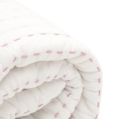 BaBu Cot Quilt White/Pink Boxed