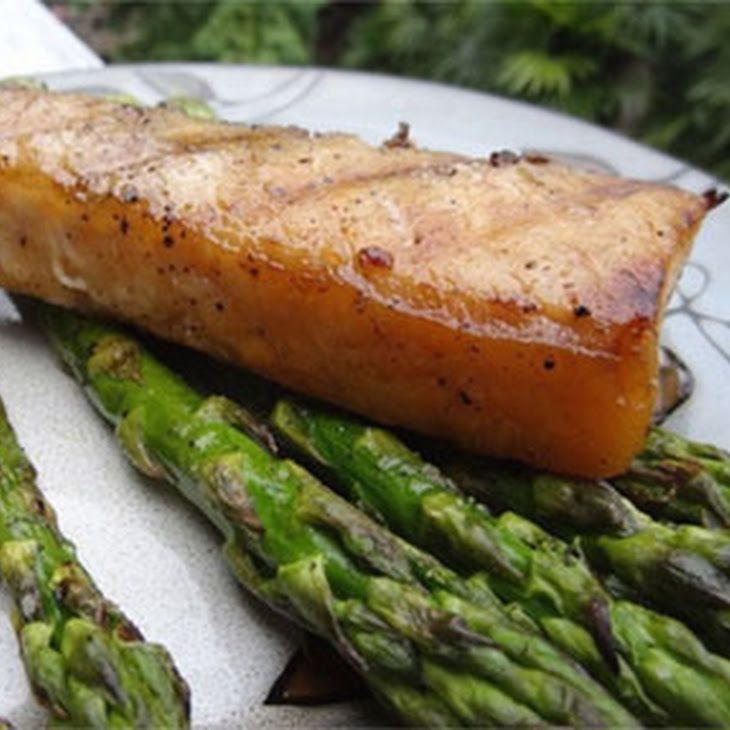 Grilled hawaiian moonfish opah with asparagus recipe for Opah fish recipes