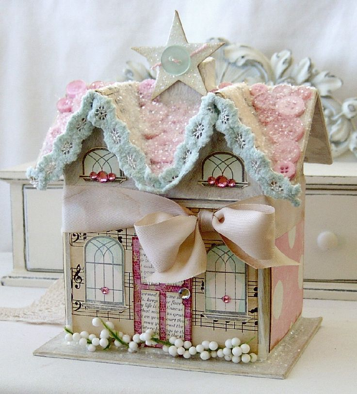 Paper Gingerbread Christmas House...use a brown cardboard house from a craft store...cover with scrapping papers, glitter, and embellishments...cute vintage chic look. HOW PRETTY! Now I want to make a whole village!