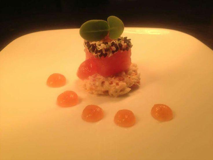 Amuse van krab, meloen en wasabi - Damhotel - Edam - Patrick Freriks
