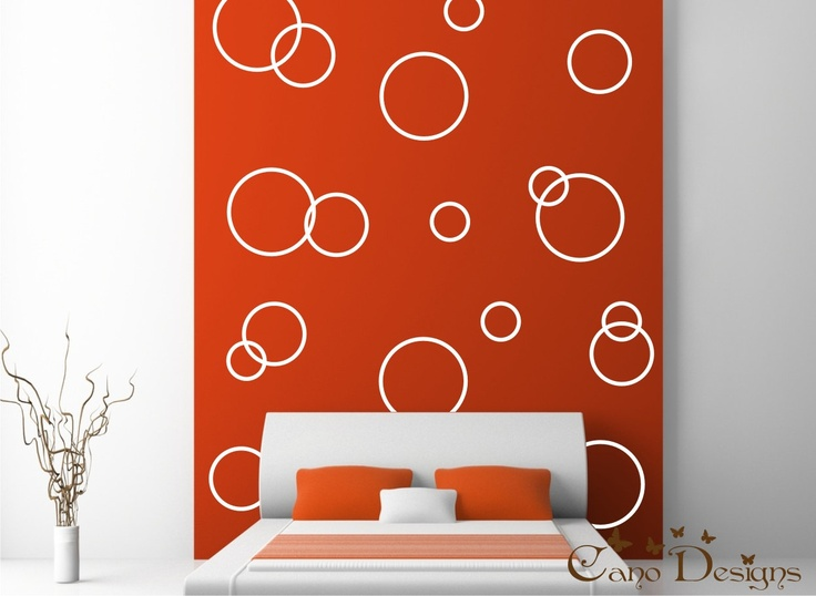 Circle Rings Vinyl Decals- Vinyl wall decals stickers, kids room, nursery, children stickers, bubbles, rings, Polka dots. $ 31.99, via Etsy.