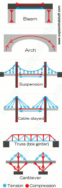 six different types of bridges: beam, arch, suspension, cable-stayed, truss, and cantilever