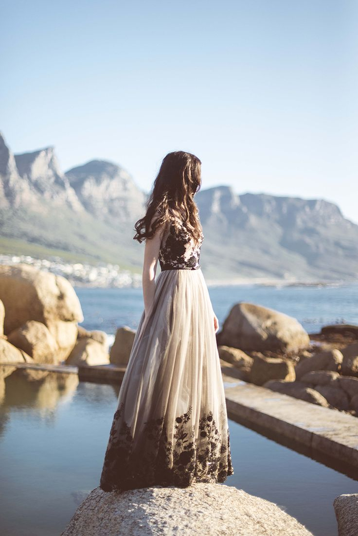 Nude & Black Wedding Dress by Janita Toerien Wedding Gowns. Dress style KEIRA. Photo by Claire Thomson