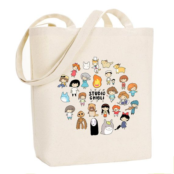 Studio Chibi Studio Ghibli Canvas Tote Bag by BluePotionUK