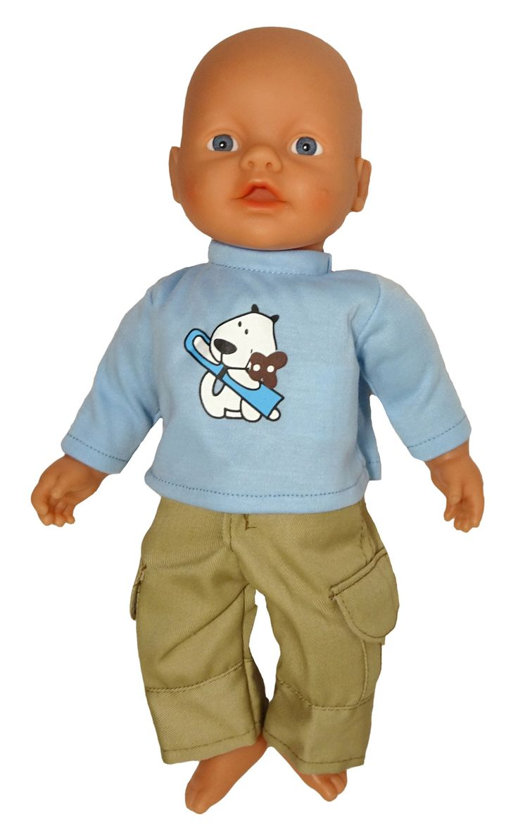 Keep your doll warm this winter wearing these Khaki pants and long sleeve tee. The shirt fastens at the back with a Velcro strip and the pants have a Velcro fly opening as well as elastic at the back.  Made by Miniland for their 32cm doll, the set is also a great fit on the 32cm Little Baby Born doll.