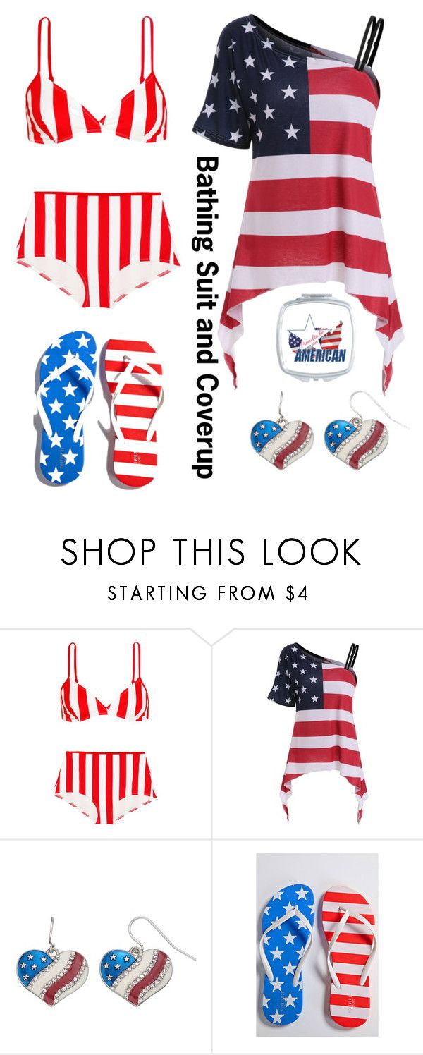 """""""Bathing Suit And Cover-up (America #2)"""" by irishgirl3333 ❤ liked on Polyvore featuring Solid & Striped, Mudd and Forever 21"""