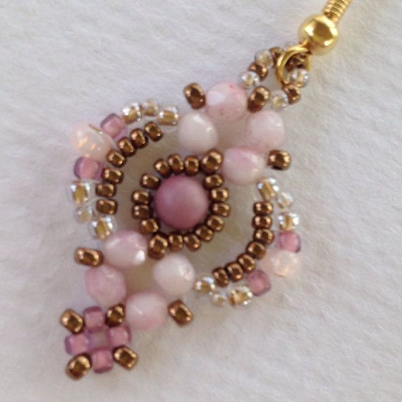 """Pink, mauve and crystal gold vintage look """"Lovely Lace"""" handwoven earrings"""