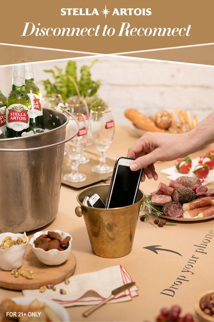 Keep the conversation flowing at your next dinner party. At the bar, invite friends to drop their phones off and pick up an ice cold Stella Artois. Create moments your guests will remember for years to come by helping them disconnect, relax and be in-the-moment.