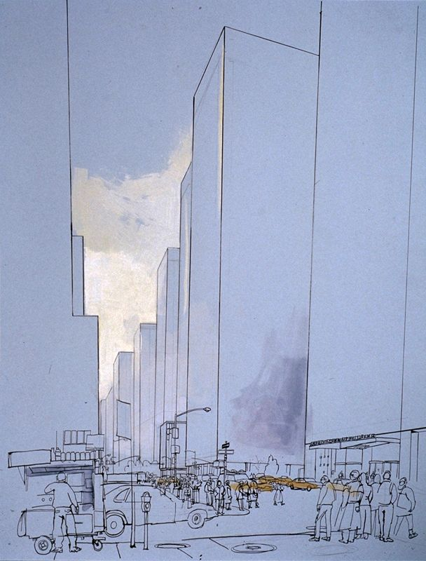 lucinda rogers drawing ink watercolour black white blue new york citscape street scene skyscrapers