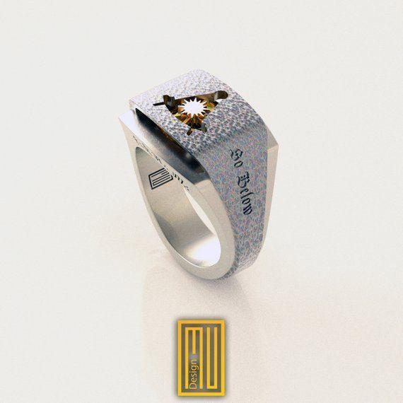 Past Master Masonic Ring with Golden Sun   Masonic ring
