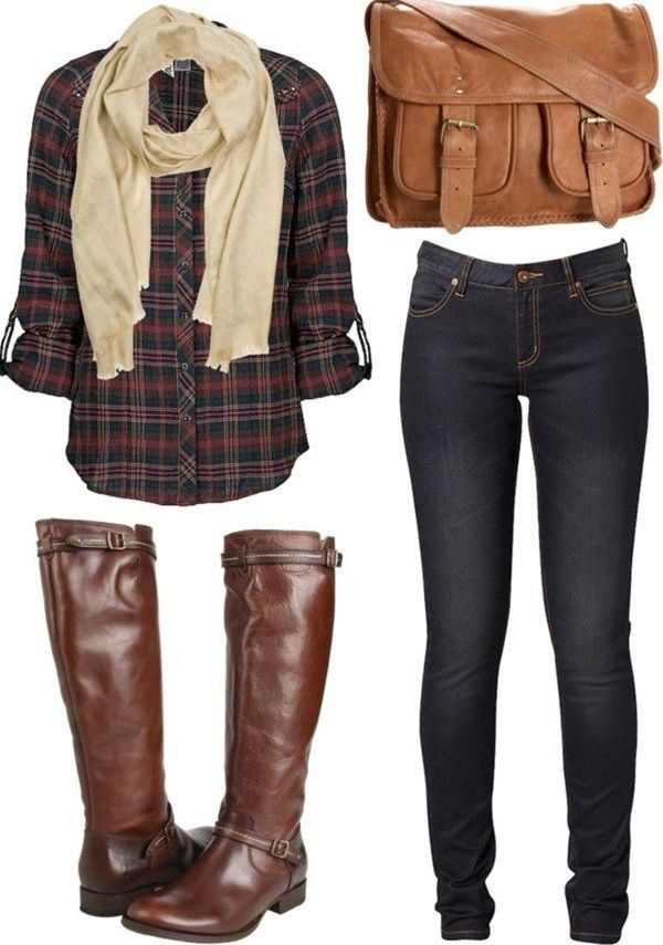 fall outfit - plaid, scarf, boots