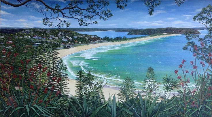 A large Canvas I finished today, May 14th 2013. Palm Beach (from the Bible Garden). 183 x 102cm. Oils & acrylic on canvas.