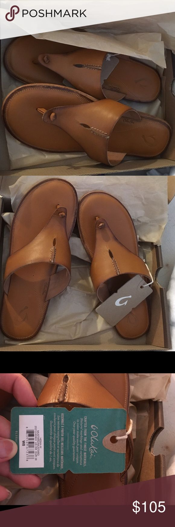 Olukai hema mustard sandals Olukai sandal brand new never worn tags still on and in box. Very cute can be dressed up or worn casually since they're comfortable. The name mustard for the color may sound unappealing but it's a really nice warm light brown with a soft orange undertone that can go with any skin tone! WILL ONLY SELL THROUGH 🅿️🅿️ Olukai Shoes Sandals