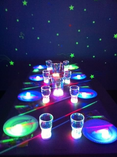 fun glow party table setting glow party pinterest. Black Bedroom Furniture Sets. Home Design Ideas