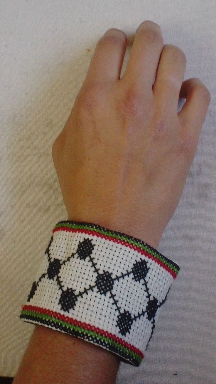 Our wristbands are becoming quite popular...here is one designed on the traditional kuffiyeh pattern.