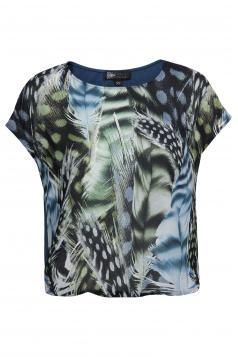 Petrolblauw T-shirt met verenprint Lyric