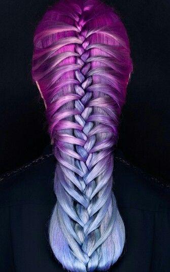 Purple blue braided dyed hair color @skylermcdonald