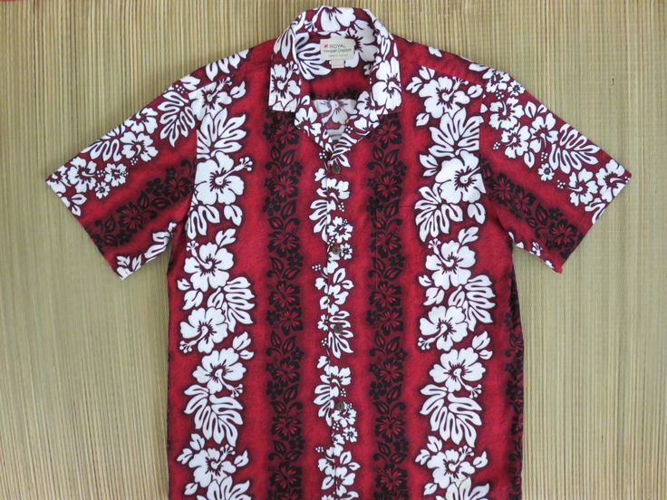 Mens ROYAL Hawaiian CREATIONS Shirt 80s Hibiscus Red Lei Flower Power Mod Retro 100% Cotton Surfer Aloha Vintage - L- Oahu Lew's Shirt Shack by OahuLewsShirtShack on Etsy