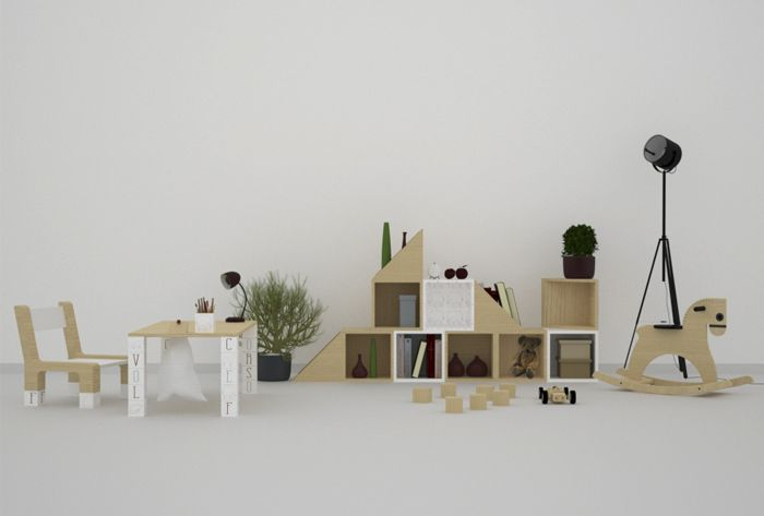 The kit is composed of units type that allow to create different configurations changing as a child grows up.
