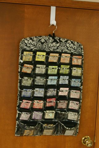 hanging jewelry organizer used to hole distress ink pads and foams