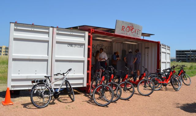 Rocket Electrics Launches Container Based E Bike Location Austin Tx Shipping Container Bike Rental Ebike