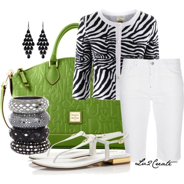 White cropped pants, navy and white polka dot J Crew cardigan, green purse, white tank or blouse, silver jewelry, black sandals.