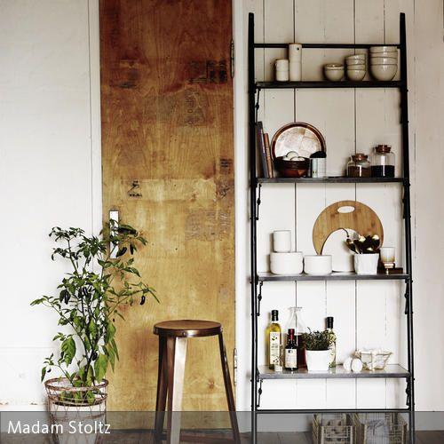 k chenregal im vintage look k che pinterest leiterregal k chenregal und beh lter. Black Bedroom Furniture Sets. Home Design Ideas
